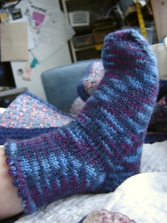 Kid Sock in Kroy with picot cuff