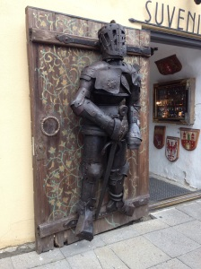 Armour on a shop door