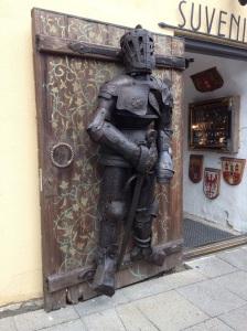 Armour on a shop door