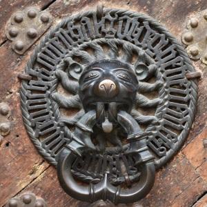 Door handle on one of the Guild Hall doors